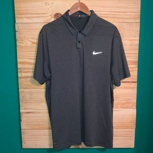 Men's Nike Tiger Woods Gray Black Striped Polo Top